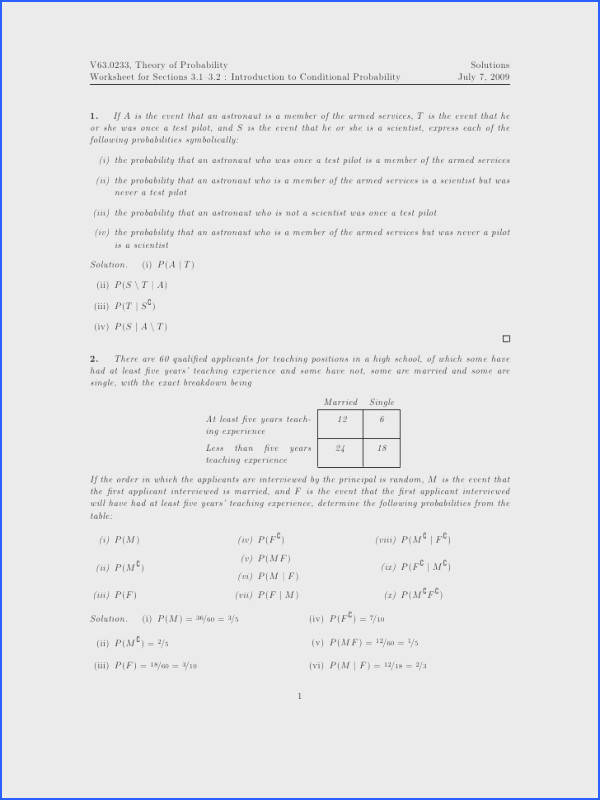Worksheet Conditional Probability solutions Image Below Conditional Probability Worksheet