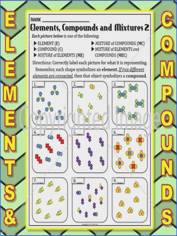 A worksheet to help students learn the basic differences between elements pounds and mixtures using