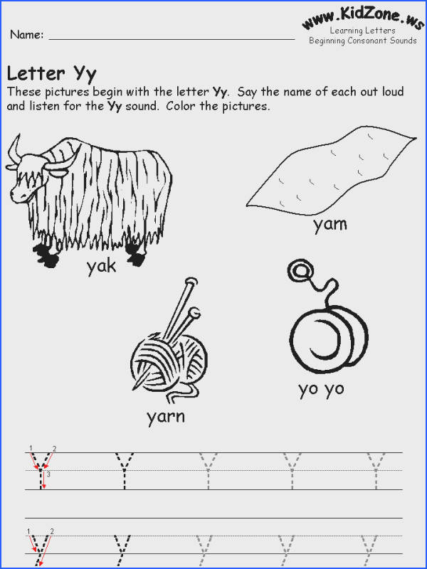 Beginning Consonant Sound Worksheets – Letter Y Worksheets for Kindergarten
