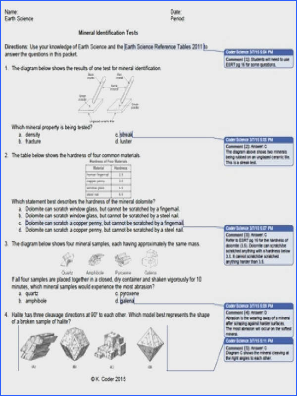 Worksheet Mineral Identification Tests WITH ANSWERS EXPLAINED This worksheet has 15 Earth