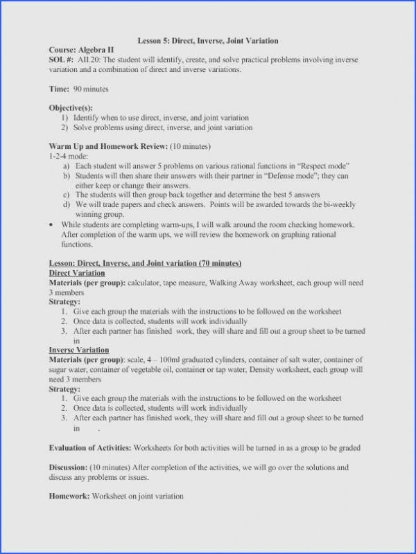 Direct Inverse And Joint Variation 9th 12th Grade Lesson Plan