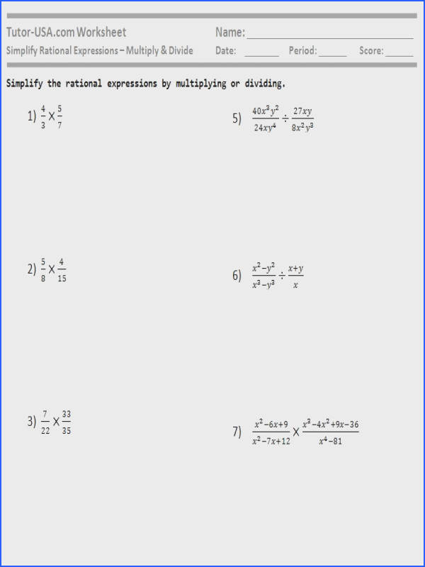 Worksheet Simplify Rational Expressions Multiply and Divide Image Below Simplifying Rational Expressions Worksheet