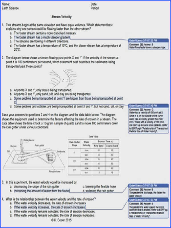 Worksheet Stream Velocity WITH ANSWERS EXPLAINED This worksheet has 10 Earth Science Regents questions about the causes and effects of changing stream