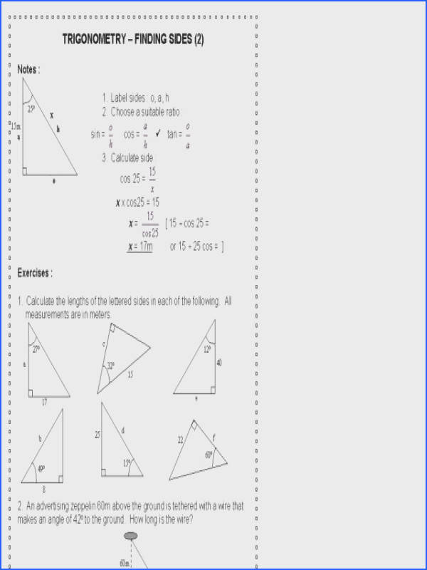 Worksheet Trigonometric Ratios Sohcahtoa Answers Worksheets for all Download and Worksheets
