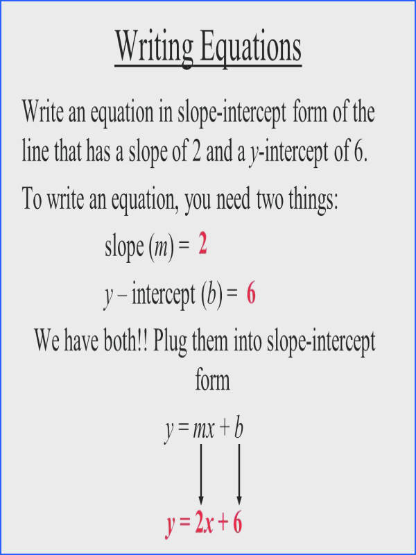 write each equation in slope intercept form and graph the line worksheet writing equations an of