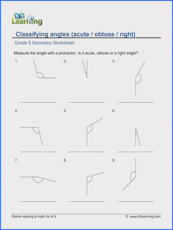 Pleasant Worksheets Grade 5 Geometry Also Grade 5 Math Worksheet Geometry Classify And Measure Angles
