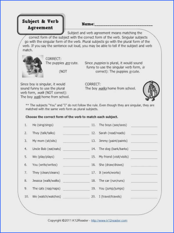 Captivating Worksheets Subject Verb Agreement Elementary Also Subject And Verb Agreement Worksheets of Worksheets Subject