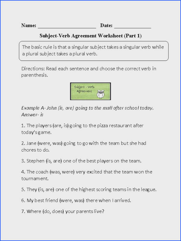Confortable Worksheets Subject Verb Agreement Elementary Verbs Worksheets of Worksheets Subject Verb Agreement Elementary