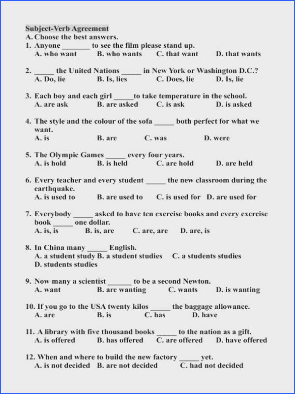 Ultimate Worksheets Subject Verb Agreement Elementary About Subject Verb Agreement Printable Worksheets Easy