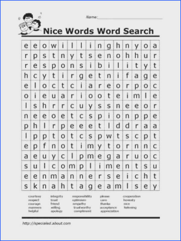Worksheets You Can Print to Build Social Skills Nice Words Word Search