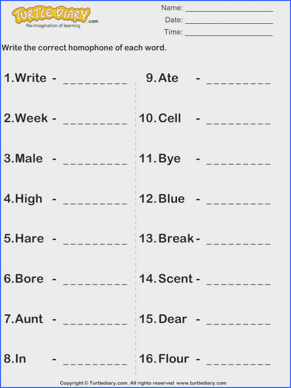 Write the Homophone S of Words