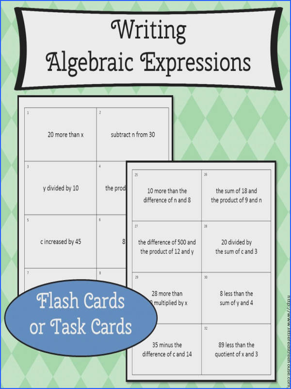 Writing algebraic expressions flash cards or task cards This is a great independent activity