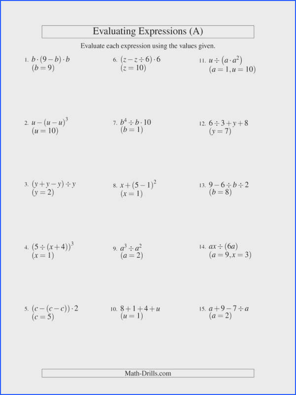 The Evaluating Three Step Algebraic Expressions with Two Variables A math worksheet from
