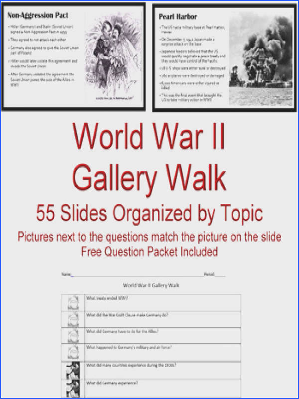 United States History World War II WWII Gallery Walk