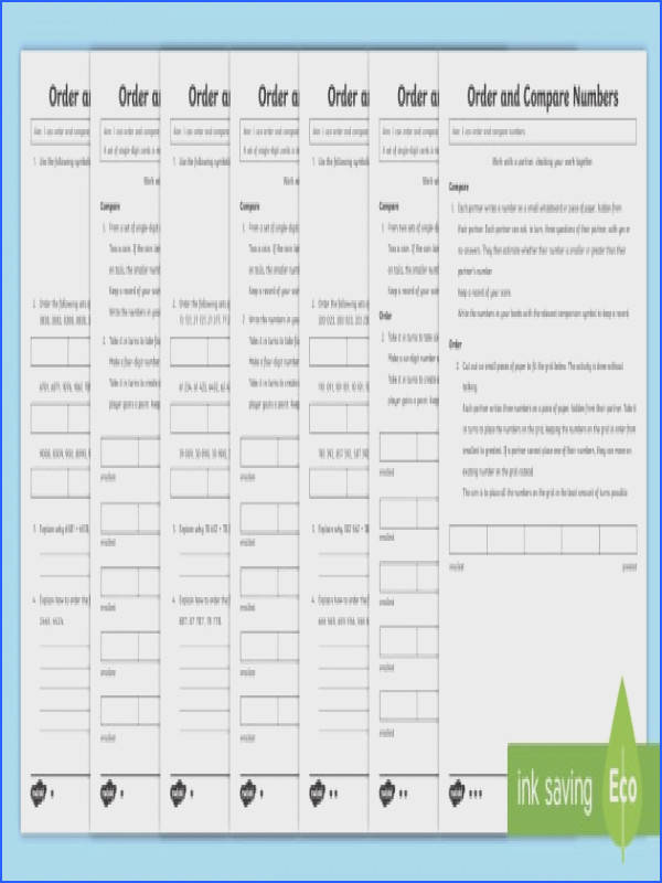 Year 5 Order and pare Numbers Mastery Differentiated Worksheet Activity Sheets Year 5 Maths